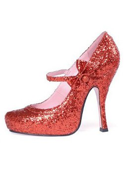 Fab Sparkly Red Glitter High Heel Mary Jane Style Designer Shoes ...