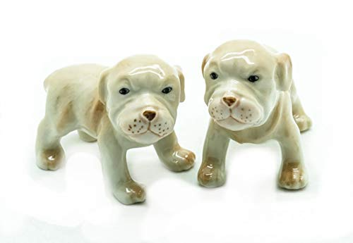 (Grandroomchic Dollhouse Animal Miniature Handmade Porcelain Statue Ceramic Decorative 1/24 Scale 2 Baby Puppy American Pit Bull Terrier Dog Figurine Collectibles Gift)