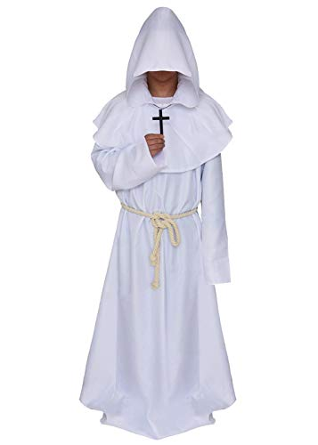 White Wizard Halloween Costume (ALIZIWAY Friar Medieval Monk Priest Hooded Robe Renaissance Wizard Cloak Halloween Cosplay Costume Y052WM)