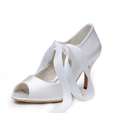 Wuyulunbi@ Elegante Peep Toe De Satén Con Bombas De Tacón Con Cordones, Zapatos De Boda,Blanca,Us9.5-10 / Ue41 / Reino Unido /7.5-8 Cn42 US8.5 / UE39 / UK6.5 / CN40