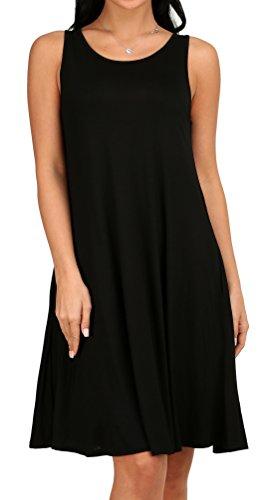 Women's Sleeveless Pockets Loose Tunic Swing T-Shirt Dress Black (Lightweight Cotton Dress)