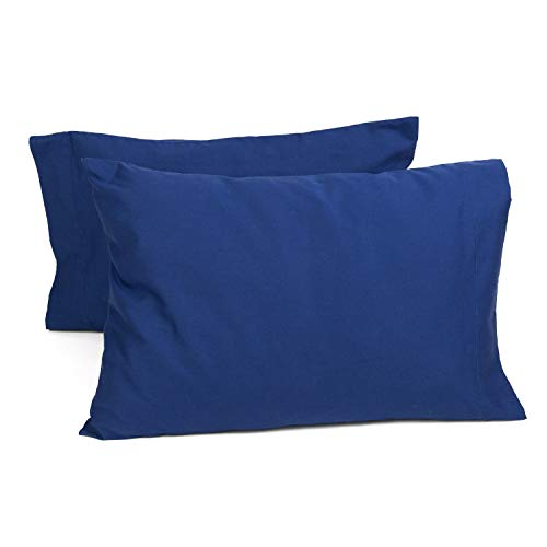 TILLYOU Toddler Travel Pillowcases Set of 2, 14x20- Fits Pillows Sized 12x16, 13x18 or 14x19, 100% Soft Cotton Percale, Envelope Style Machine Washable Kids Pillow Cases, Navy Blue by TILLYOU