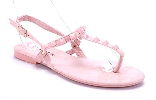 Schuhtempel24 Damen Schuhe Zehentrenner Sandalen Sandaletten Rosa Flach WaNJN6