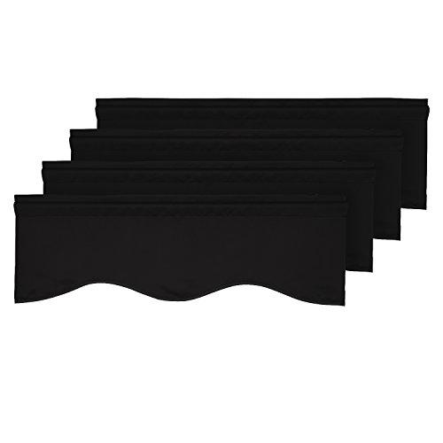 (Deconovo Blackout Window Valance for Kitchen Solid Rod Pocket Scalloped Valance Short Curtain Panels 42x18 Inch Black 4 PCS)