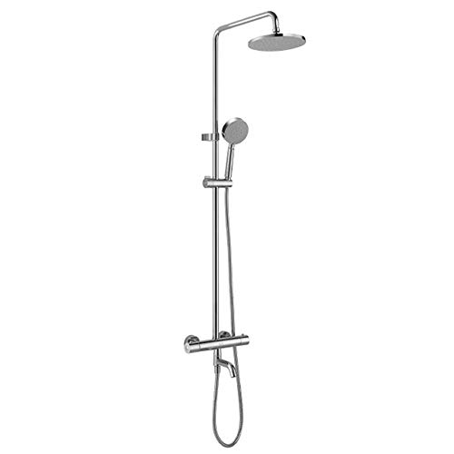 (DWhui Thermostatic Shower System, Adjustable Slide Bar, Polished Spray Painting Shower Shower Head Wall Mounted)
