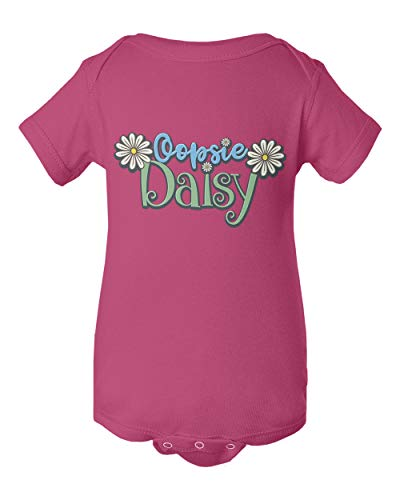 - Little Flower Oopsie Daisy Graphic Short Sleeve Summer Romper Bodysuit (Pink,6M)