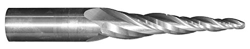 1/8' Tip Dia. x 2' Flute Length - Solid Carbide Tapered End Mill - 1 Degree Per Side, Ball End