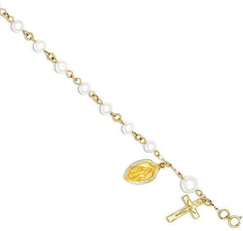 ICE CARATS 14k Yellow Gold 6.0 6.5mm Freshwater Cultured Pearl Rosary Bracelet Religious Fine Jewelry Gift Set For Women Heart