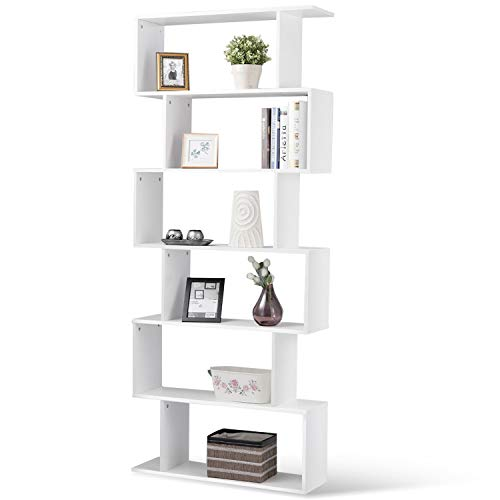 Tangkula 6 Shelf Bookcase, Modern S-Shaped Z-Shelf Style Bookshelf, Multifunctional Wooden Storage Display Stand Shelf for Living Room, Home Office, Bedroom, Bookcase Storage Shelf (White) (Wall Bookcases Ladder Library With)