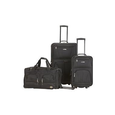 Rockland Luggage 3 Piece Printed Luggage Set, Black, Medium