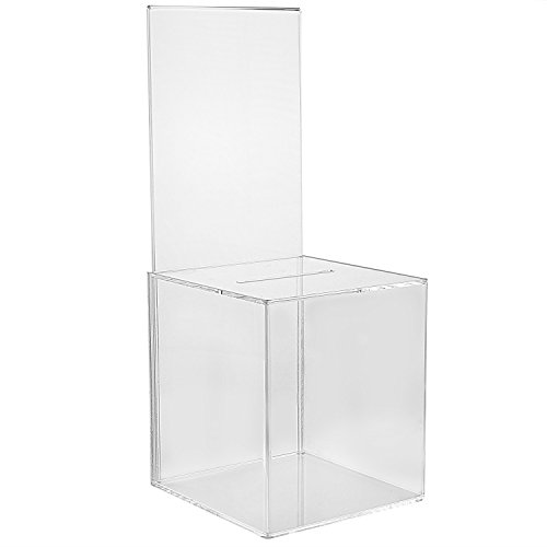 MCB - 2 Pack - Mini Ballot Box - Ticket Box - Coin Collector - Tip Container - With 5x7 Sign Frame, for Counter Top Use (Clear) by My Charity Boxes