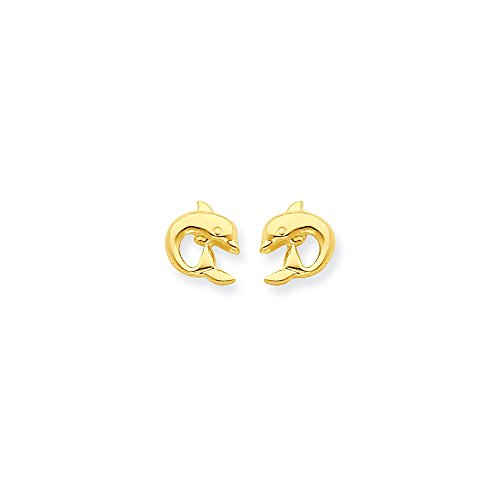 Gold Dolphin Post Earrings - 6