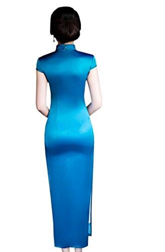 ACVIP Cheongsam da Maxi Vestito Aderente Blu