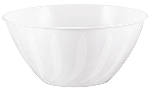 (Amscan 438805.08 Stylish Swirl Plastic Bowl Table Reusable Serveware and Dishware Party Supplies, 5 Qt, White)