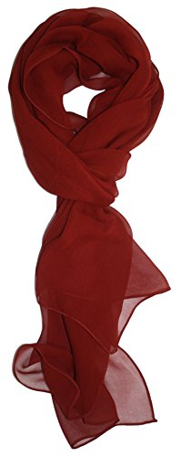 Ted and Jack - Solid Silk Lightweight Accent Scarf in Rust (Rust Accessories Colored)