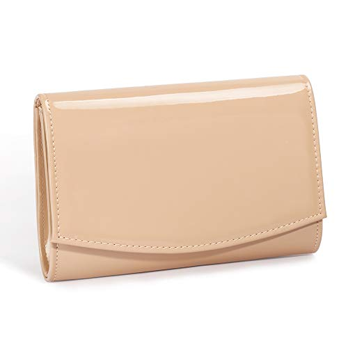 - Women Patent Leather Wallets Fashion Clutch Purses,WALLYN'S Evening Bag Handbag Solid Color (New lightbrown)