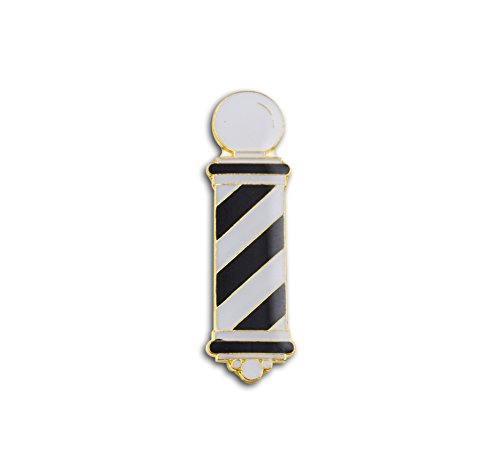 Barber Pole Lapel Pin, Black & White Pin Pole