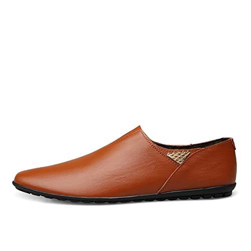 Warm rouge marron 42 EU L.W.SURL Chaussures à Talons en Cuir véritable pour Hommes de la Mode Poids léger
