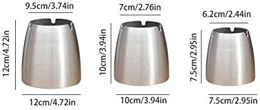 XiaoNUO 大防風灰皿パティオ美しい卓上ステンレス鋼灰皿のためにホームオフィスアンブレイカブル耐久用品スモーク (Color : S)