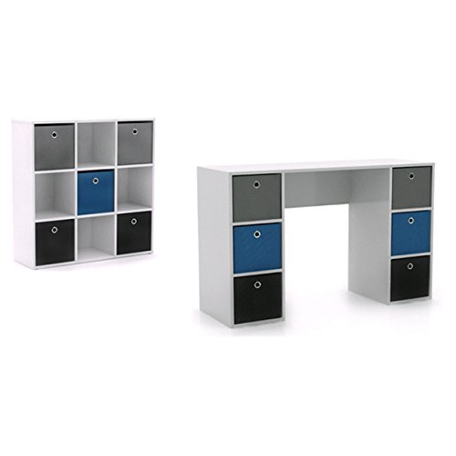 Desks/ Student & Writing Desks Contemporary, Modern 'Jolie' White and Blue Writing Desk and 5-bin Bookcase Set - Assembly Required 1465335. 29.5 in High x 47.25 in Wide x 15.75 in Deep