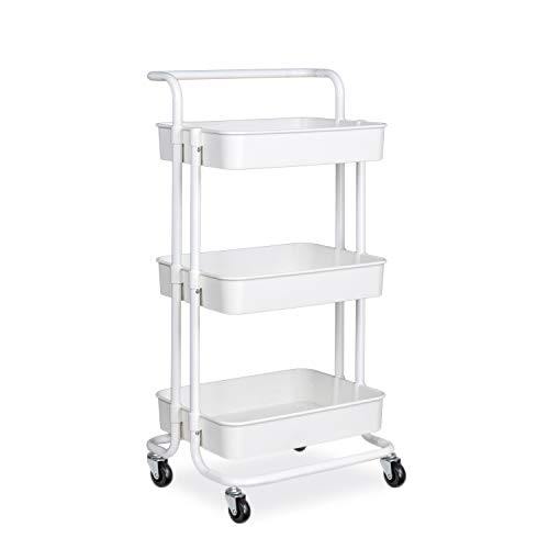 alvorog 3-Tier Rolling Utility Cart Storage Shelves Multifunction Storage Trolley Service Cart with Mesh Basket Handles and Wheels Easy Assembly for Bathroom, Kitchen, Office (White) (Rolling Metal Cart White)