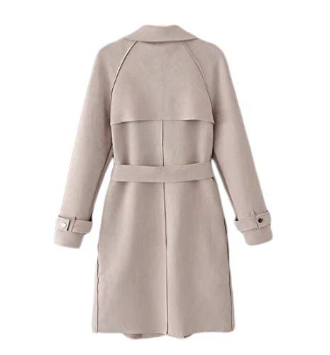 Mode coat Daim Dentelles Taille Style couleur Automne En Trench À Femme Kaki Revers Décoratif L Grandes BvExqwxpC