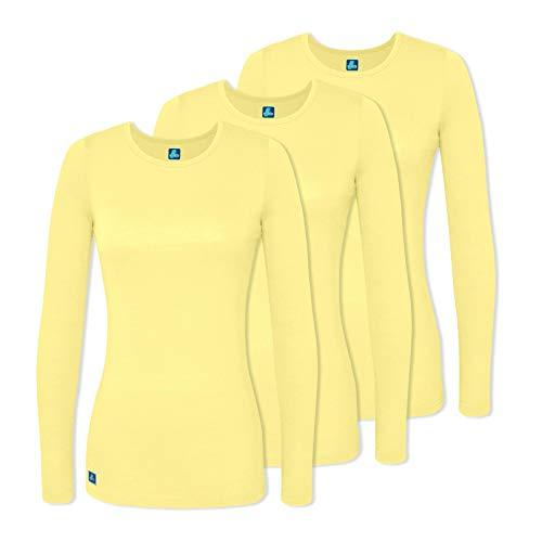 Adar 3 Pack Women's Comfort Long Sleeve T-Shirt/Underscrub Tee - 2903 - Citron - ()