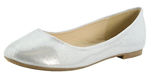 Bella Marie Women's Classic Shimmer Sparkle Glitter Closed Toe Slip On Ballet Flat (8.5 B(M) US, Silver) ()