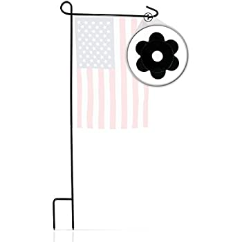 Garden Flag Stand U0026 Stopper By GreenWeR: 32 Inch Sturdy Metal Wrought Iron Garden  Flag