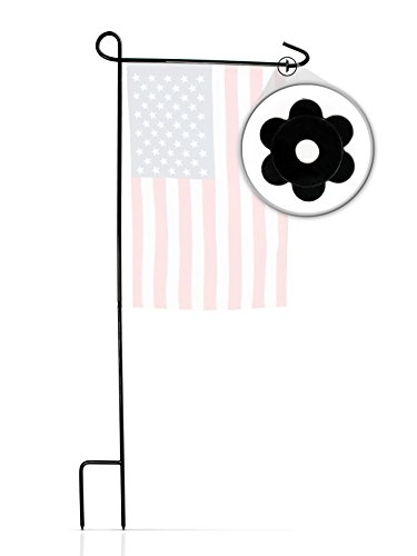 Garden Flag Stand & Stopper by GreenWeR: 32 Inch Sturdy Metal Wrought Iron Garden Flag Holder and Rubber Stopper. Your flag will never get twisted again! (Stakes Banner)