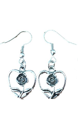 Cyborg Alien Halloween Costumes (J&C Dangle Earrings Beauty and The Beast Heart In Gift Box by J&C Family Owned)