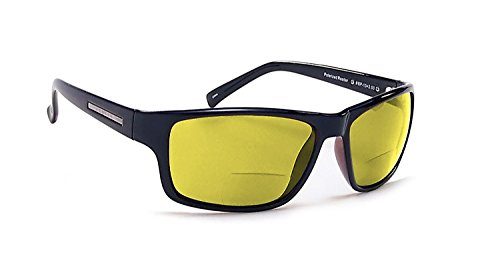 Coyote Eyewear BP-13 Polarized Bi-Focal Reading Sunglasses in Black w/ Yellow Lens +2.00