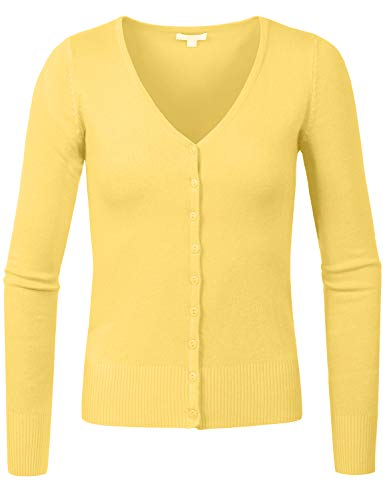 J. LOVNY Womens Basic Casual Light V Neck Button Down Cardigan Sweaterr S-3XL -