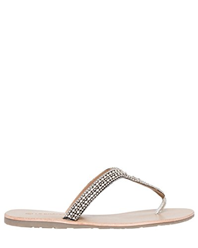 Le Château Women's Jewel Embellished Leather Thong Sandal,41,Nude Leather Jeweled Sandals