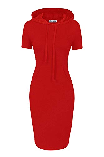 Women Hooded Dress 3/4 Sleeve Sweatshirt Pullover Stripe Keen Length Kangaroo Pocket Dress (XL, Red Short -
