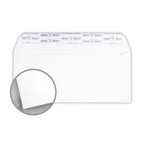 Printmaster White Envelopes - No. 10 Regular Side Seam Peel & Seal (4 1/8 x 9 1/2) 24 lb Writing Wove 2500 per Carton by National Envelope Printmaster
