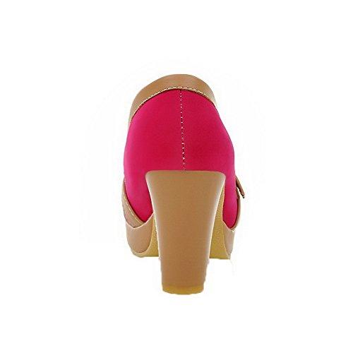 AgooLar Damen Rein Mattglasbirne Hoher Absatz Rund Zehe Ziehen auf Pumps Schuhe Rosa