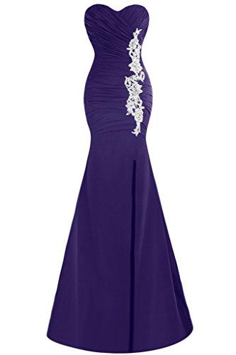 Ivydressing Schlitz Festkleid Mermaid Abendkleid Ausschnitt Damen Herz Applikation Promkleid Violett xwYaXYnP