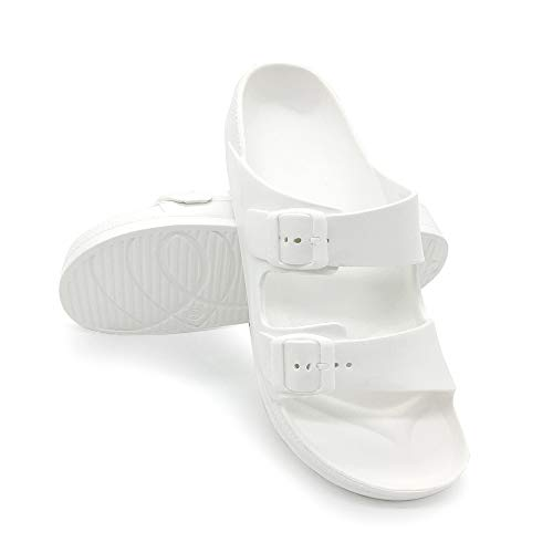 (L&M Women's Slides Double Buckle Adjustable EVA Flat Sandals White, 8)