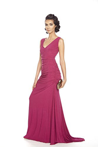 Posh Couture Women's V Neck Soft Jersey Evening Dress 12 Raspberry (Couture Jersey Gown)