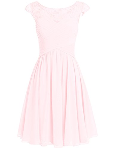 Dresses pink Bridesmaid Formal Wedding Light Gowns Appliques Party Women's Chiffon Cdress Short fqyHAcPI