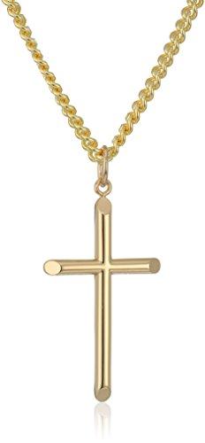 Mens 14k Gold Filled Solid Polished Embossed Tubular Cross Pendant Necklace, 24