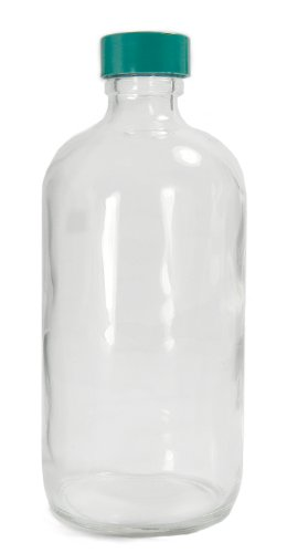 - Qorpak GLC-01146 Clear Glass Boston Round Bottle with 24-400 Green Thermoset F217 PTFE Lined Cap, 60mm OD x 137mm Height, 8oz Capacity (Case of 108)