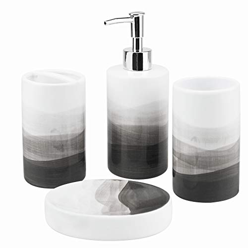 Rich Life 4 Piece Painted Ceramic Bathroom Accessory Set, Includes Soap Dispenser Pump, Toothbrush Holder, Tumbler, Soap Dish Sanitary, Ideas...