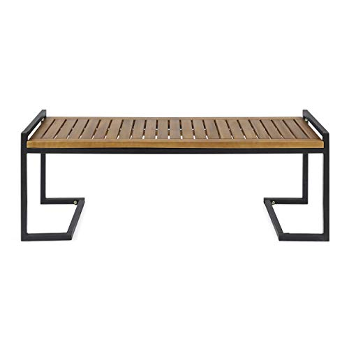 Great Deal Furniture 306426 Noel Outdoor Industrial Acacia Wood and Iron Bench, Teak and Black, Finish - Outdoor Modern Teak Bench