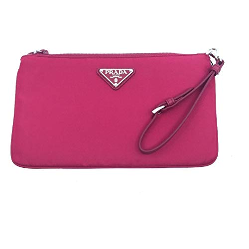 Prada Ibisco Pink Tessuto Nylon Logo Cosmetic Case Clutch Wristlet Bag 1NH545 (Prada Logo Jacquard)