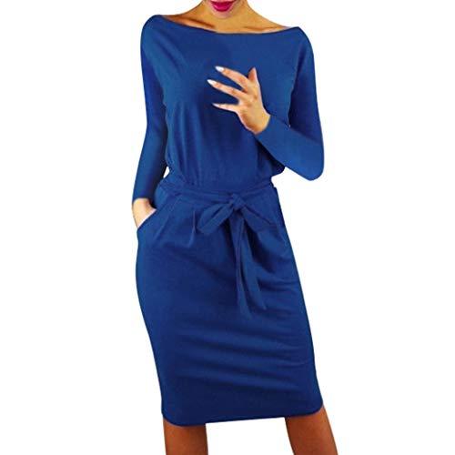 ❤️ Vestidos de Fiesta Mujer,Modaworld Vestido Casual otoñal de Bolsillo para Mujer Vestido Largo de Fiesta de Noche de Manga Larga para Mujer Dama Bodycon Sexy niña Azul