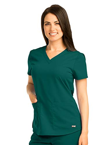 Grey's Anatomy 71166 V-Neck Top Hunter Green ()
