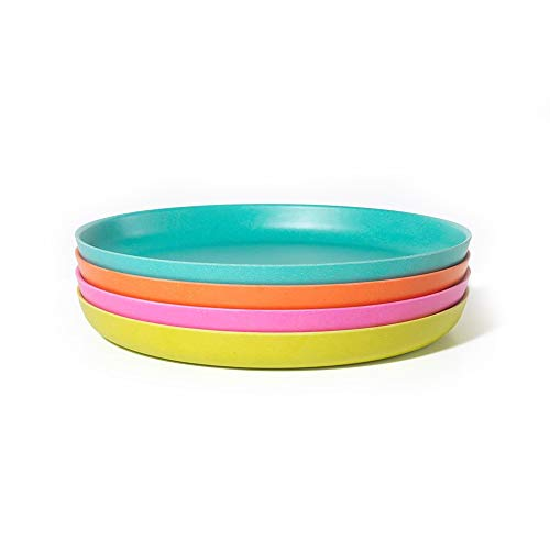 - EKOBO Kids Bamboo  4-piece 9'' Plate Set, Medium, BIOBU Eco-material, Assorted Colors