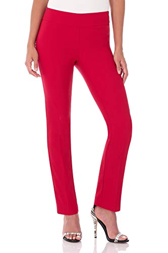 Rekucci Women's Ease in to Comfort Straight Leg Pant with Tummy Control (12,Red)